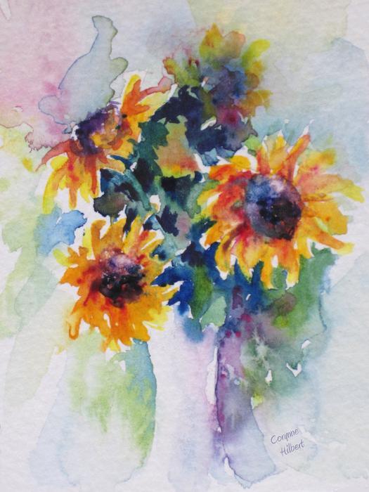 Sunflower Bouquet Print by Corynne Hilbert