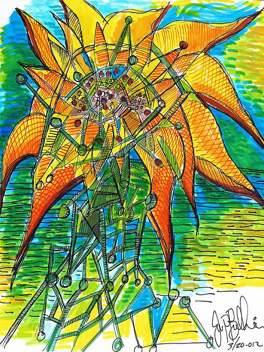 Sunflower Construction Print by Jon Baldwin  Art