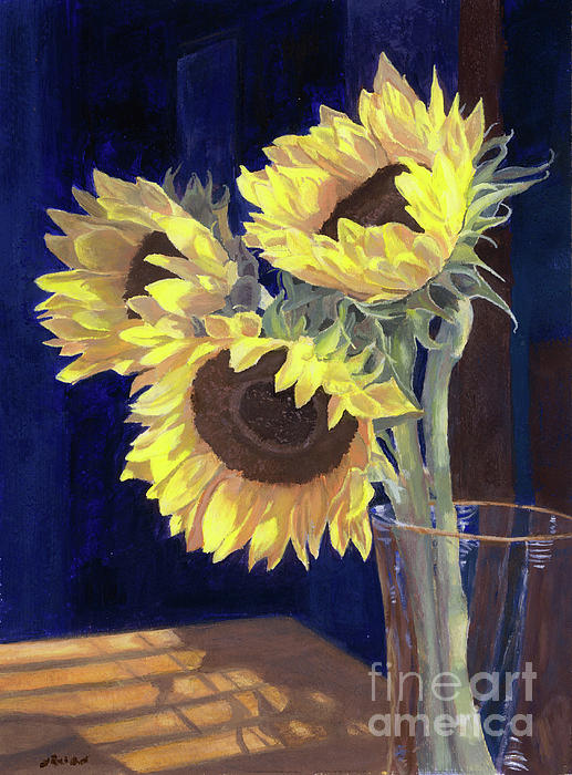 Sunflowers And Light Painting  - Sunflowers And Light Fine Art Print