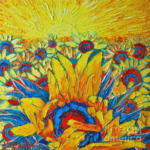 Ana Maria Edulescu - Sunflowers Field In Sunrise Light