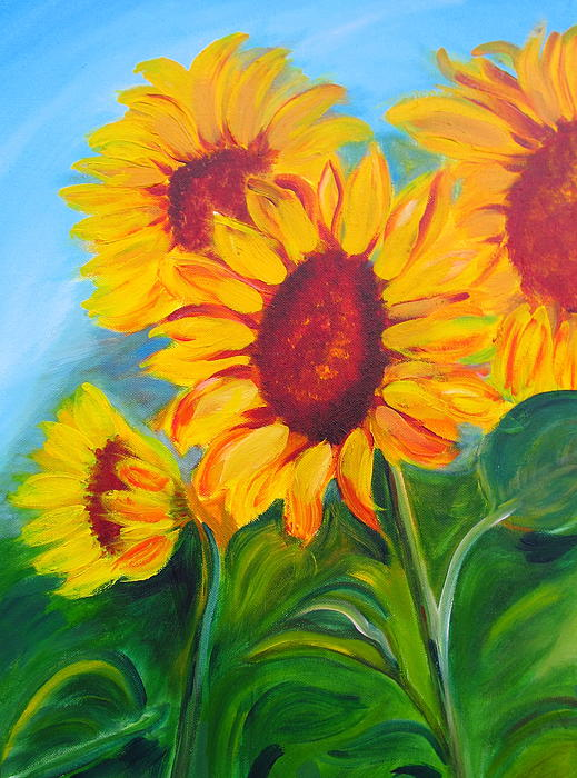Sunflowers For California Lovers Print by Dani Altieri Marinucci