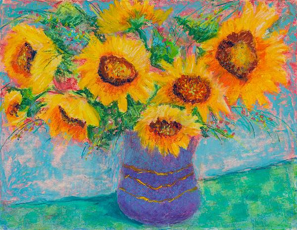 Pat Olson - Sunflowers in Blue Pot