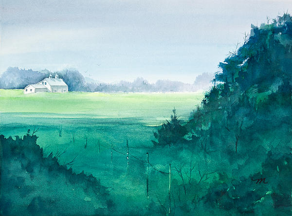 Sunlit Field Watercolor Painting Print by Michelle Wiarda