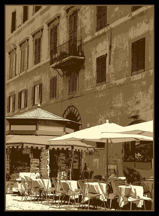 Sunny Italian Cafe - Sepia Print by Carol Groenen