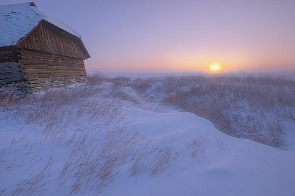 Sunrise On Abandoned, Snow-covered Print by Dan Jurak