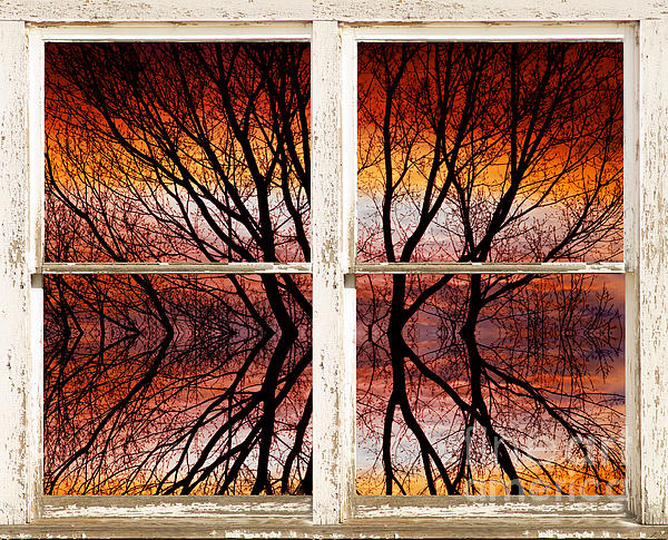 Sunset Abstract Rustic Picture Window View Print by James BO  Insogna