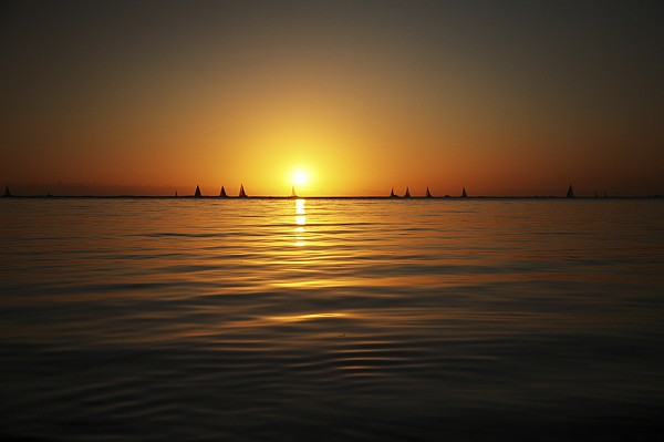 Sunset And Sailboats Print by Brandon Tabiolo - Printscapes