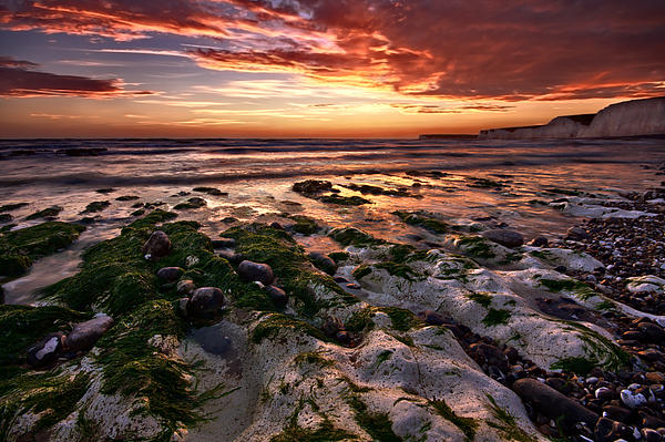 Sunset At Birling Gap Print by Mark Leader