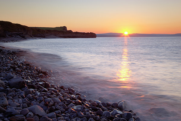 Sunset At Kilve Beach, Somerset Print by Nick Cable