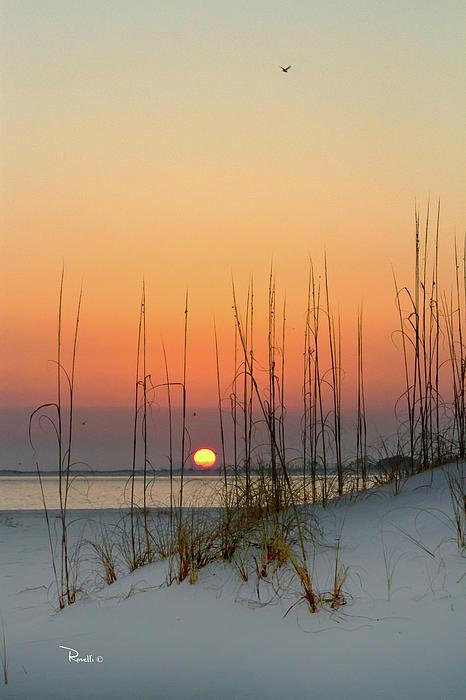 Sunset At Pensacola Pass Print by Richard Roselli