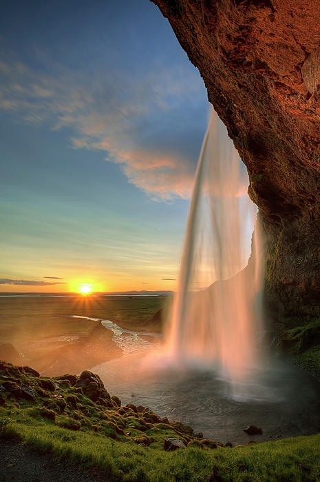 Sunset At Seljalandsfoss Print by Peter OReilly