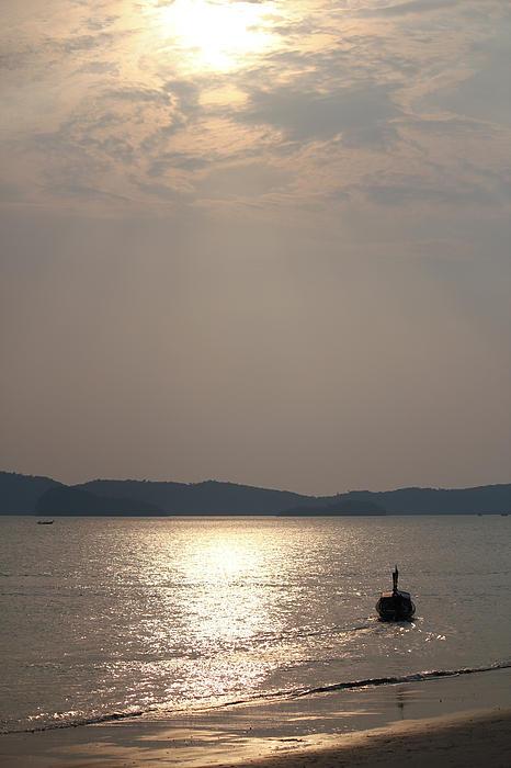 Sunset At The Beach Print by Nawarat Namphon