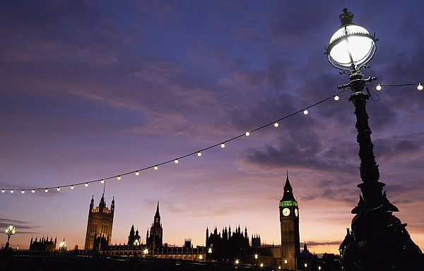 Sunset Behind Big Ben And The Houses Print by Axiom Photographic