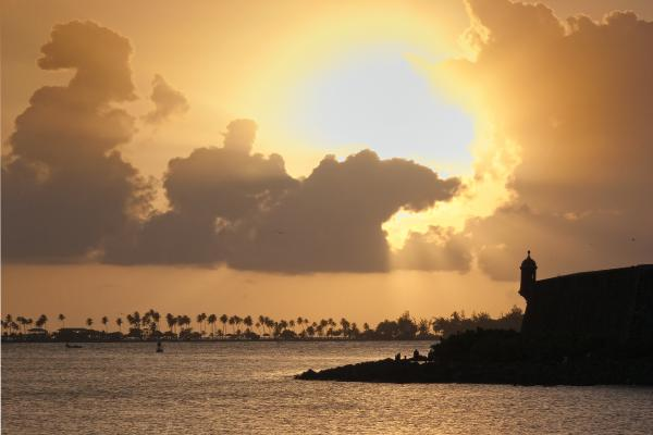 Sunset In San Juan Bay Print by George Oze