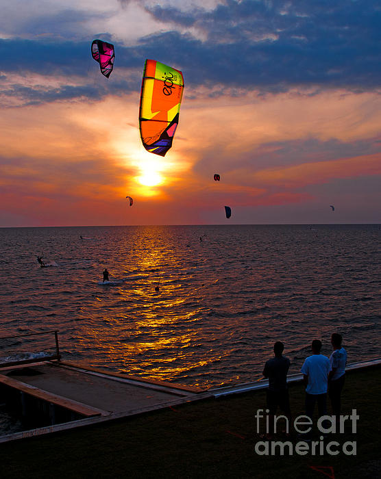 Sunset Kiteboarding On The Pamlico Sound Print by Anne Kitzman