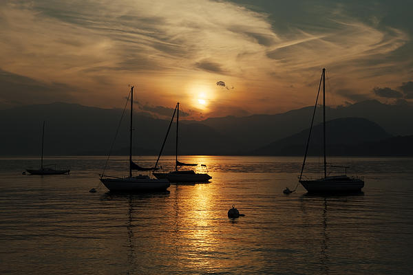 Sunset Lake Maggiore Print by Joana Kruse