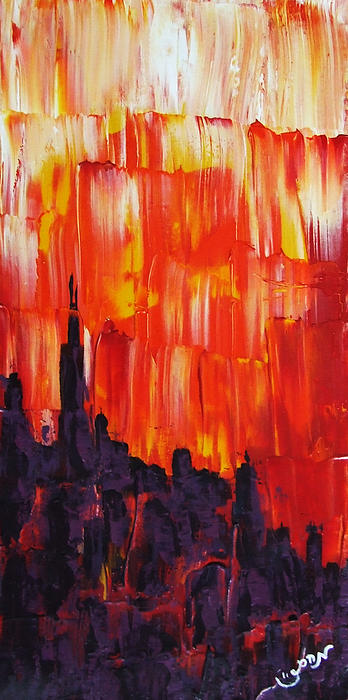 Sunset Of Melting Waterfall Behind Chicago Skyline Or Storm Reflecting Architecture And Buildings Print by M Zimmerman MendyZ