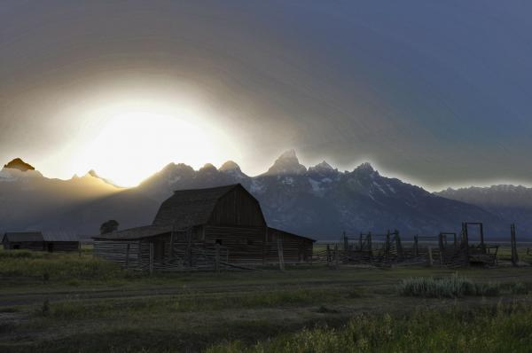 Sunset On Mormon Row  Wy Print by Vijay Sharon Govender