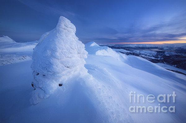 Sunset On The Summit Toviktinden Print by Arild Heitmann