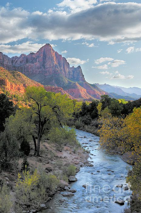 Sunset On The Watchman Print by Sandra Bronstein