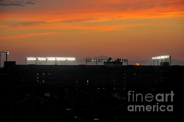 Sunset Over Camden Yards Baltimore Print by Marianne Campolongo