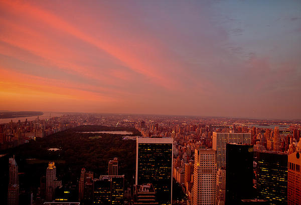 Sunset Over Central Park And The New York City Skyline Print by Vivienne Gucwa