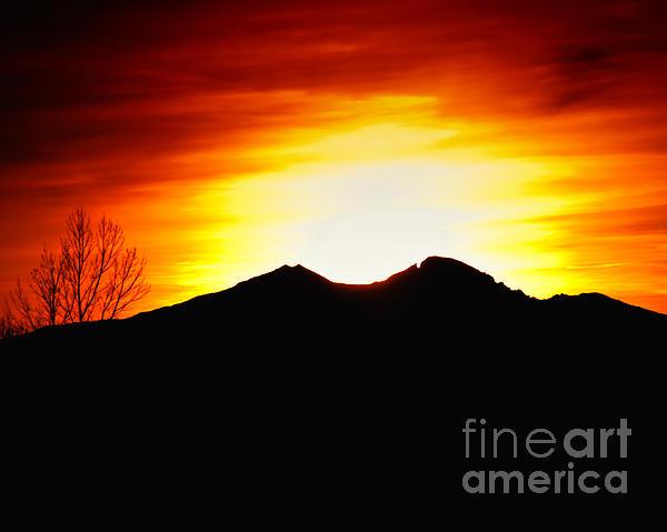 Sunset Over Longs Peak Print by Harry Strharsky