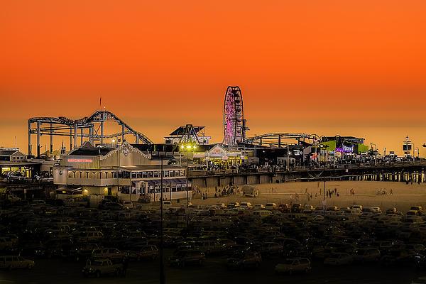 Sunset Over Santa Monica Pier Print by Trevor Seitz
