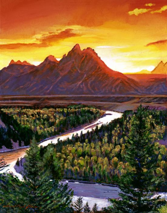 Sunset Over The Grand Tetons Print by David Lloyd Glover
