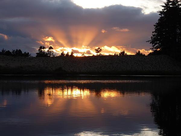 Sunset Rays Bursting Over Lake Bradley Print by Cindy Wright