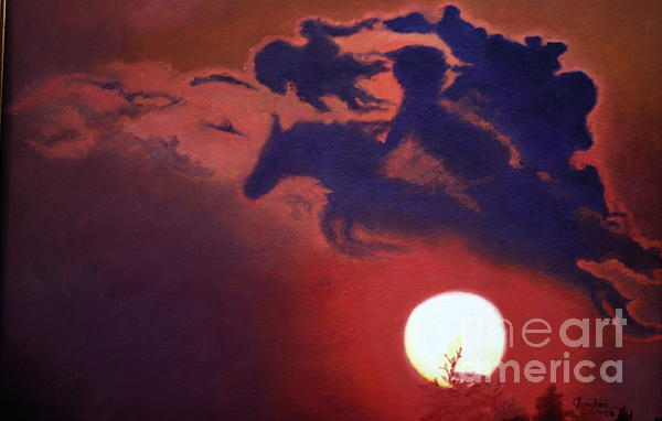 Sunset Steeplechase Print by Cindy Lee Longhini