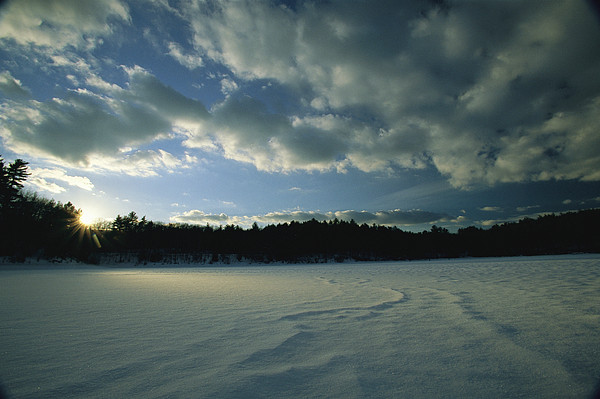 Sunset Viewed From The Frozen Surface Print by Tim Laman