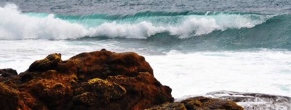 Surf Breaking Near Coast Print by Phill Petrovic
