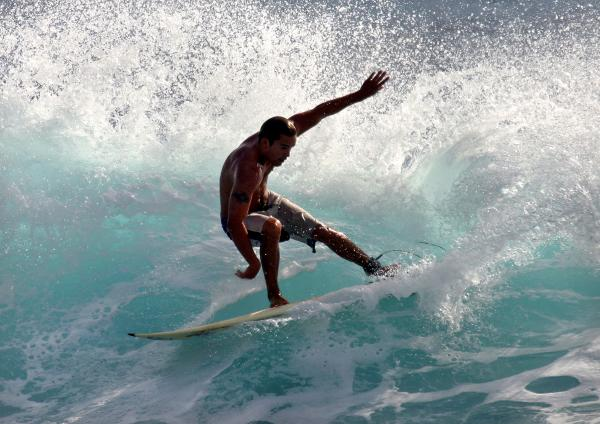 Surfer Slashing The Blue Waves At Dumps Maui Hawaii Print by Pierre Leclerc Photography