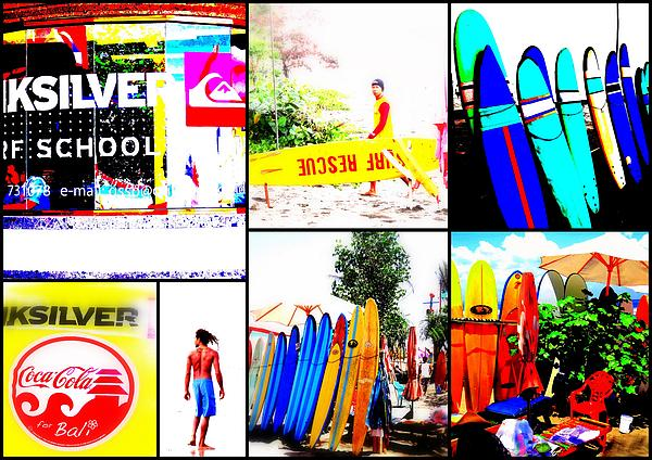 Surfing Bali Beaches Print by Funkpix Photo Hunter
