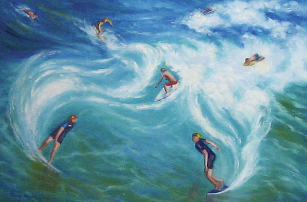 Surfing Print by Diane Quee