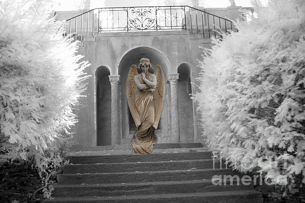 Kathy Fornal - Surreal Ethereal Angel Standing On Steps - Surreal Infrared Angel Art