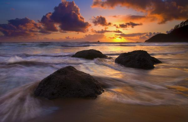 Surrounded By The Sea Print by Mike  Dawson