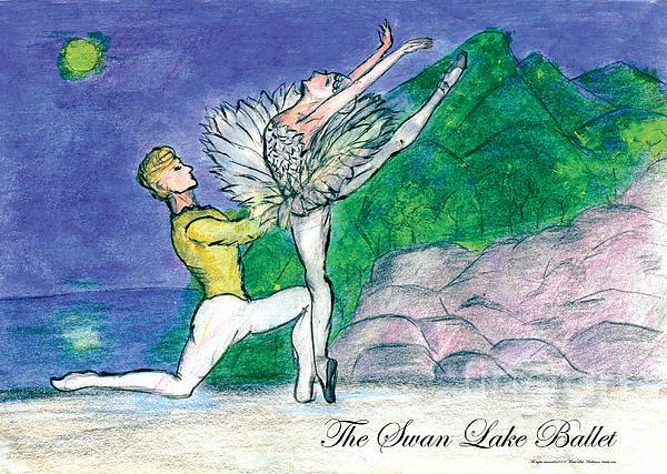 Swan Lake Ballet Print by Marie Loh