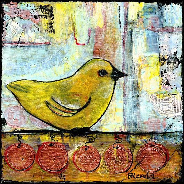 Sweet Green Bird Print by Blenda Studio