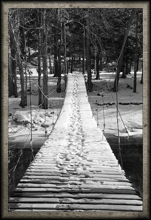 Swinging Cable Foot Bridge Print by John Stephens