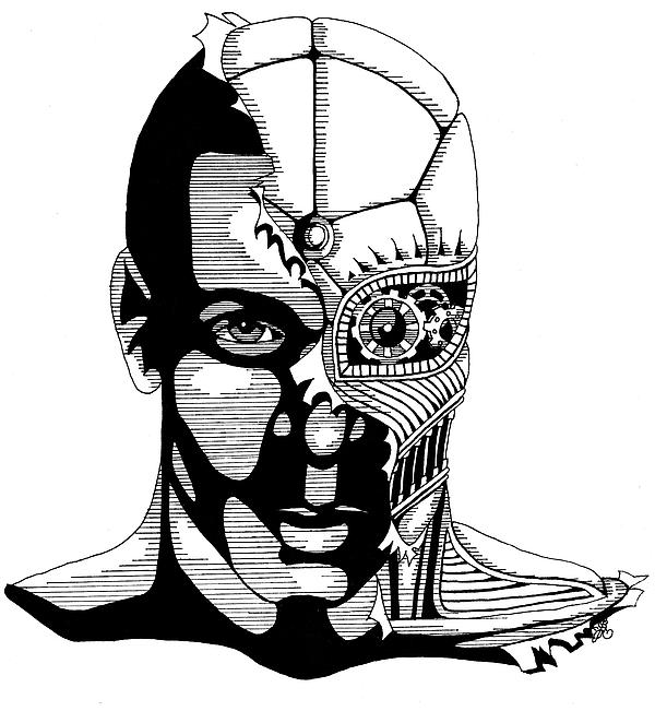 Syl Cyborg Print by Scarlett RoyalRobot Face Drawing