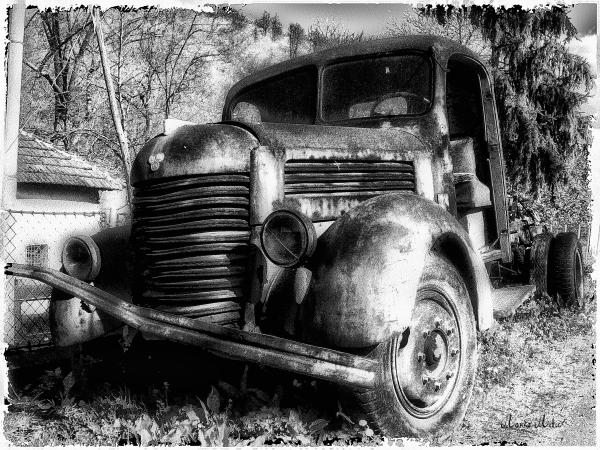 Tam Truck Black And White Print by Marko Mitic