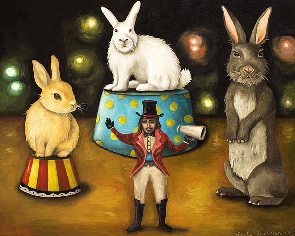 Taming Of The Giant Bunnies Print by Leah Saulnier The Painting Maniac