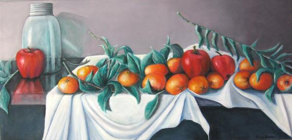 Tangerines And Apples Print by Eileen Kasprick