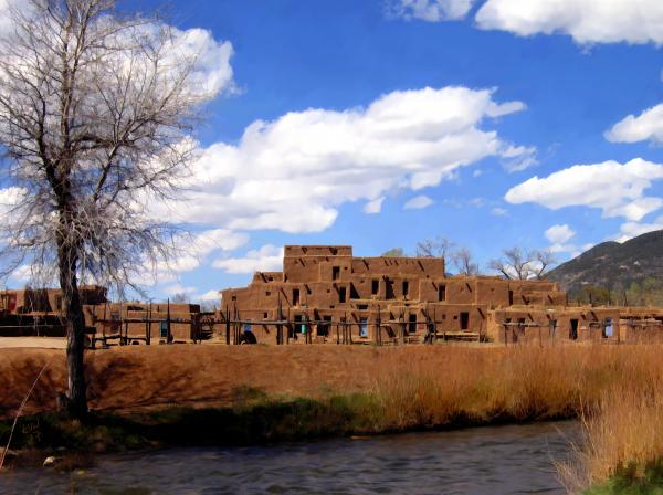 Taos Pueblo Early Spring Photograph  - Taos Pueblo Early Spring Fine Art Print