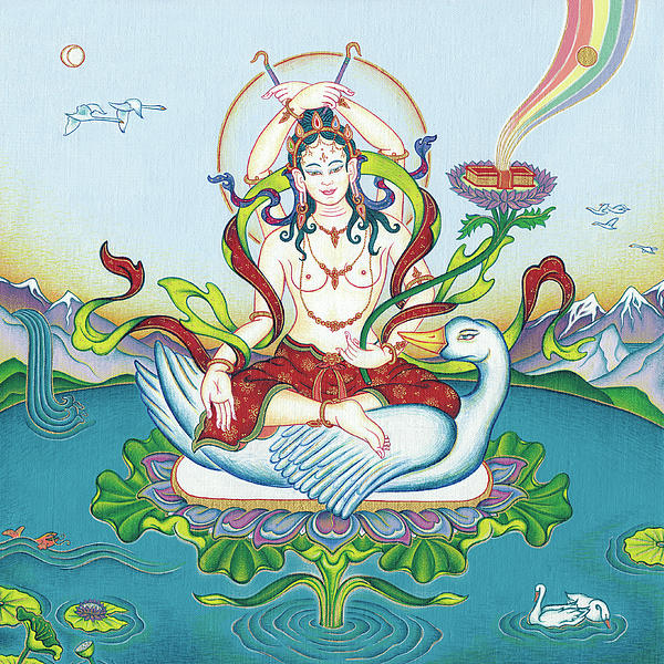 Tara Protecting Against Poisons And Naga-related Diseases Painting  - Tara Protecting Against Poisons And Naga-related Diseases Fine Art Print