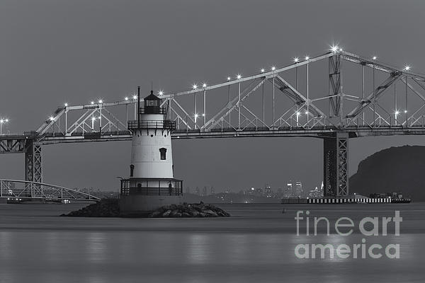 Clarence Holmes - Tarrytown Lighthouse and Tappan Zee Bridge at Twilight II