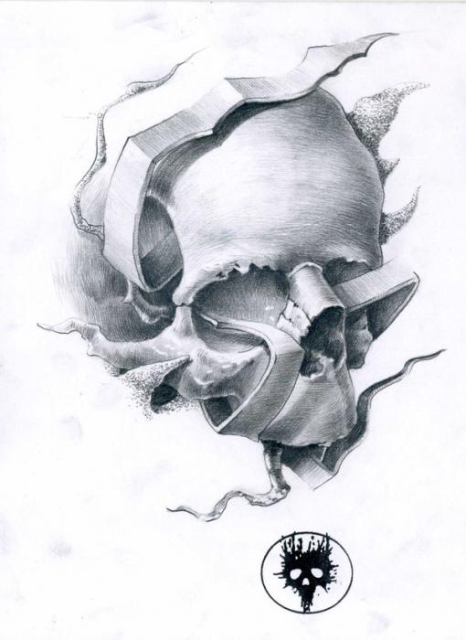 Tattoo Skull Drawing by MOTH Simeonov - Tattoo Skull Fine Art Prints ...