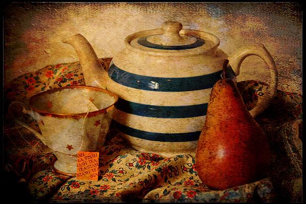Tea And Pear Print by Toni Hopper